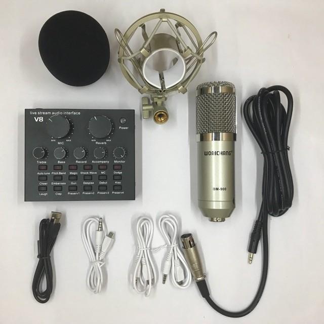 Micro thu âm BM 900 và sound card V8 Tiếng Anh - Việt dễ sử dụng 1