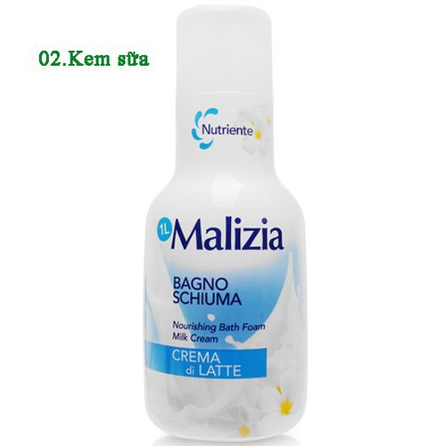 Sữa tắm kem sữa Malizia Bath Foam White Musk Italy 1000ml