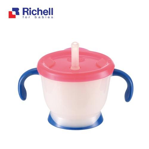 Cốc tập uống Richell  Nhật Bản 3 giai đoạn của Bé màu xanh