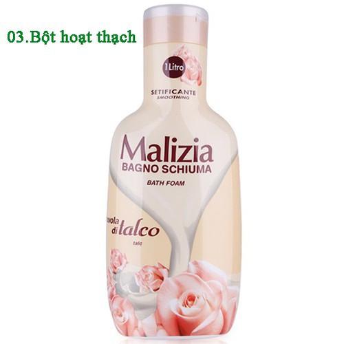 Sữa tắm bột hoạt thạch Malizia Bath Foam White Musk Italy 1000ml