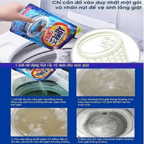 Bộ 2 Gói bột tẩy vệ sinh lồng máy giặt cao cấp 450g