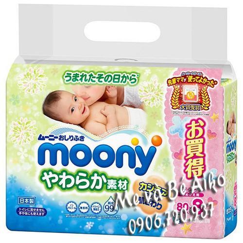 Mới Nhất Combo 8 Gói Khăn Giấy ướt Moony 80 Tờ Nội địa Nhật Bản Kèm