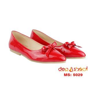 Giày búp bê mũi nhọn đính nơ big size thương hiệu DEPVASHOCK - 5029 ĐỎ BIG SIZE thumbnail