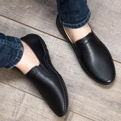 ẢNH THẬT Giày Lười Nam Màu Đen Đẹp Da Bò Đế Khâu Bền Bỉ Chắc Chắn