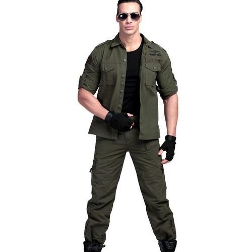 Quần áo hộp nam - Bộ quần áo hộp nam kaki lính mỹ