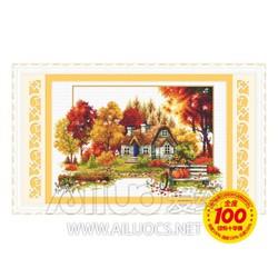 Tranh thêu chữ thập Nhà mùa thu Ailuo AL21172
