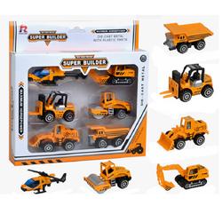 Bộ mô hình xe công trình tỉ lệ 1:64 gồm 6 chiếc khác nhau