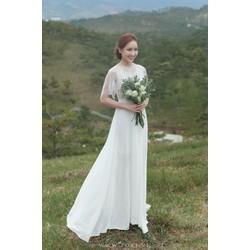 Đầm maxi trắng cổ tròn tay loe