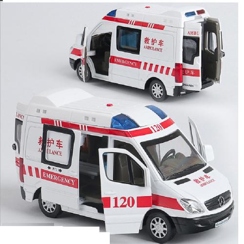 Xe cứu thương bằng sắt chạy cót đồ chơi trẻ em mở được các cửa