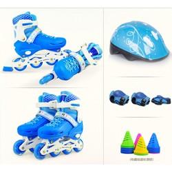 Giày trượt Patin Sports Size S cho bạn trẻ dưới 6 tuổi màu xanh