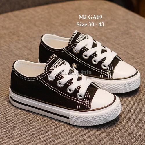 Giày thể thao buộc dây màu đen cho bé 5 - 15 tuổi GA69