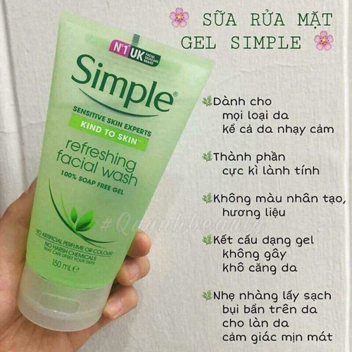 Sữa Rửa Mặt Simple Kind To Skin Refreshing Facial Wash Gel - 10791042 , 11170352 , 15_11170352 , 150000 , Sua-Rua-Mat-Simple-Kind-To-Skin-Refreshing-Facial-Wash-Gel-15_11170352 , sendo.vn , Sữa Rửa Mặt Simple Kind To Skin Refreshing Facial Wash Gel
