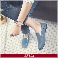 Giày lười nam| Giày Nam Giày Vải Màu Xanh