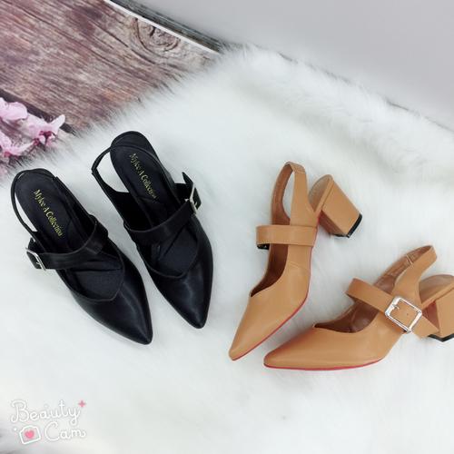 Giày coa gót bít mũi hậu sandal, cao 5cm da êm chân