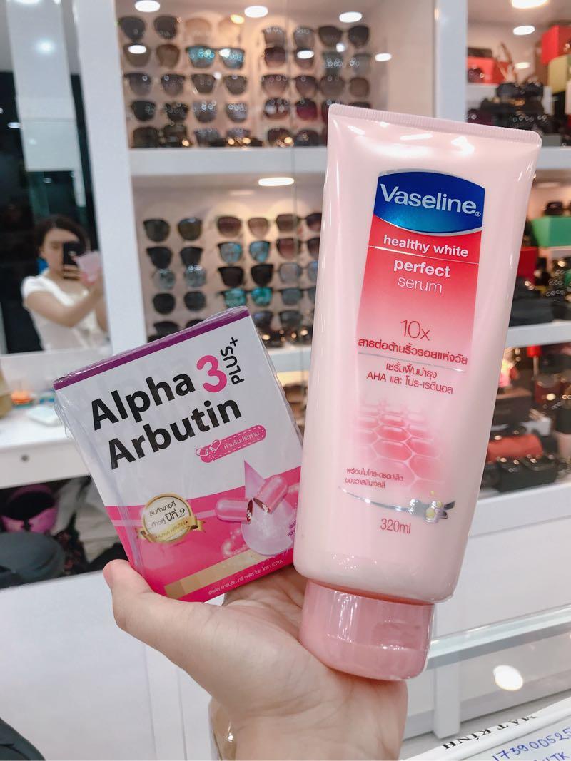 Combo Vaseline 10x viên kích trắng Alpha arbutine 5