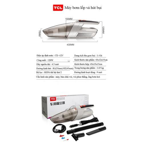 Máy hút bụi cầm tay thương hiệu TCL cho xe hơi, ô tô kiêm bơm lốp xe