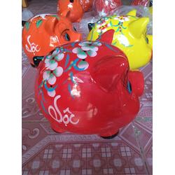 Lợn sứ tiết kiệm tiền màu đỏ chữ Tài Lộc