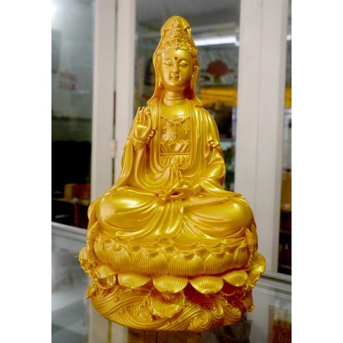 Tượng ngài Quan Thế Âm Bồ Tát ngồi sơn nhũ vàng cao 30cm
