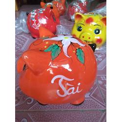 Lợn sứ tiết kiệm tiền Bát Tràng chữ Tài Lộc màu cam