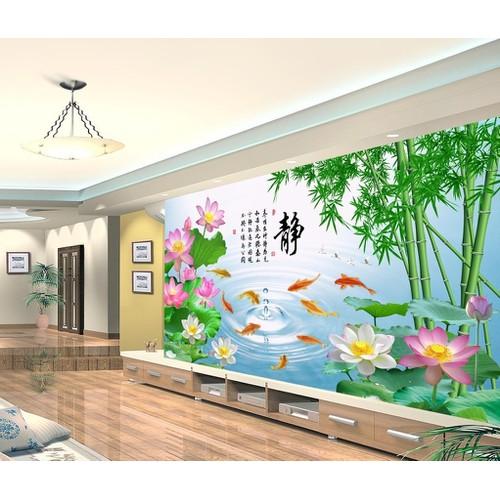 tranh 3d phong thủy cá chép hoa sen