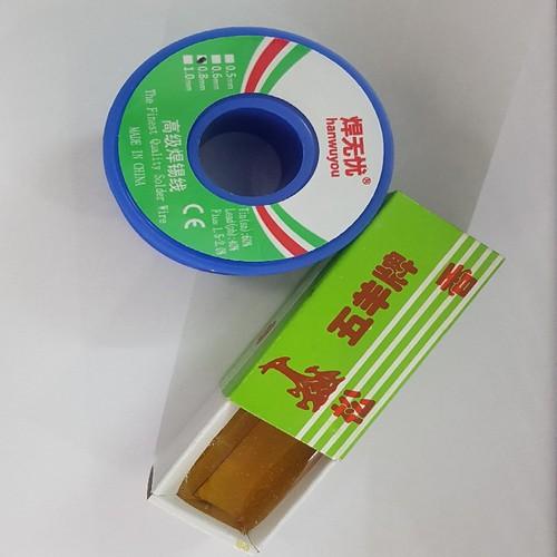 Thiếc hàn,chì hàn 100g 0.6mm + nhựa thông hộp