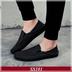 Giày Lười Vải Nam Full Black + Tặng Tất Khử Mùi