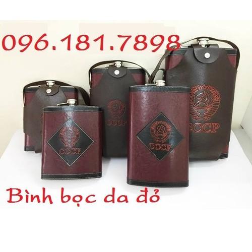 Bình inox CCCP bọc da đỏ 1.5 lít 48oz, có túi da đi kèm