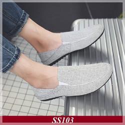 Giày Lười Nam Vải Xám Nhạt + Tặng Tất Khử Mùi