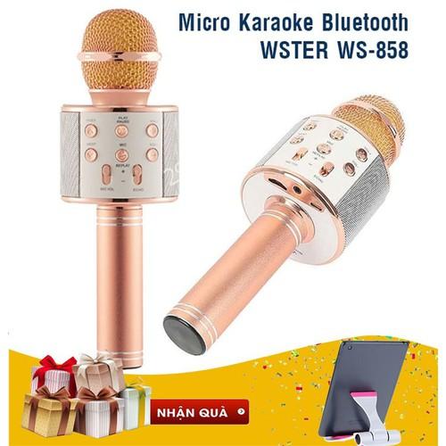Có Quà-Mic Karaoke Bluetooth Wster Ws-858 Tặng Giá Đỡ Điện Thoại Ipad