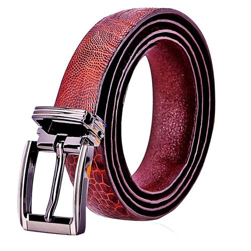 Dây thắt lưng nữ Huy Hoàng da đà điểu trơn màu nâu đỏ EH5415