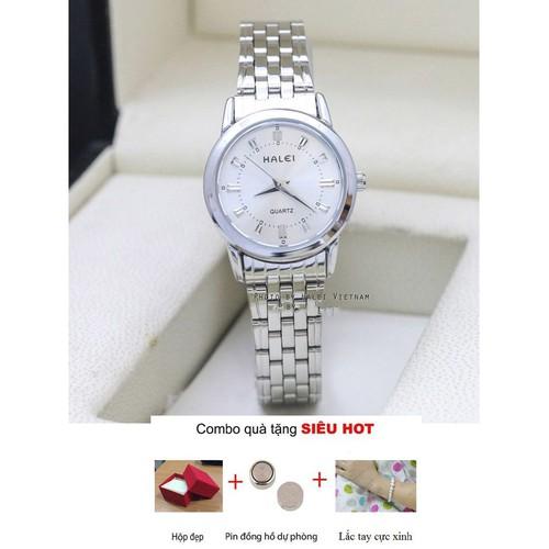 Đồng hồ nữ Halei dây trắng chống nước cực chất