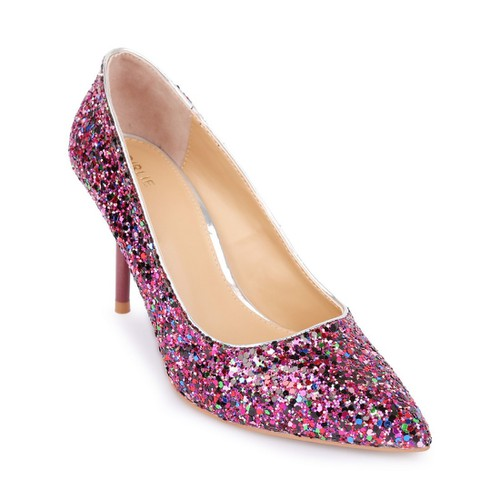 Giày cao gót bít mũi đính kim sa S36033  Tím Girlie