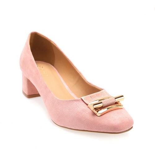 Giày cao gót bít mũi da lộn S34744 Hồng Girlie