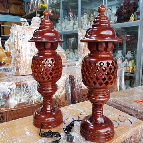 Cặp đèn thờ gỗ 34cm