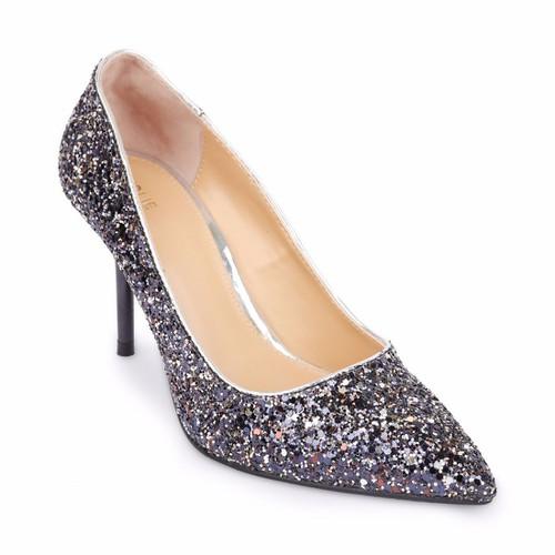Giày cao gót bít mũi đính kim sa S36033 Đen Girlie