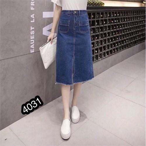 ⚡️[Sale] Chân Váy Jeans Dài Xẻ 4031