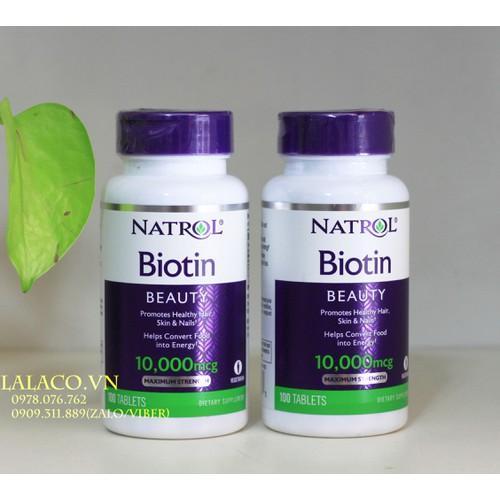 Natrol Biotin 10000 mcg Viên uống hỗ trợ mọc tóc 100 viên