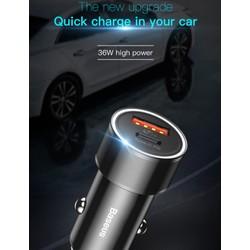 Bộ tẩu sạc nhanh điện thoại trên xe hơi Baseus LV196 1 USB 1 Type C