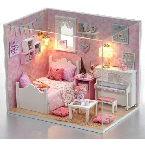 Bộ lắp ráp mô hình nhà gỗ DIY:Căn phòng Ngủ Màu Hồng H015