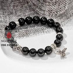 Vòng Tay Đá Obsidian Phối Charm Bạc
