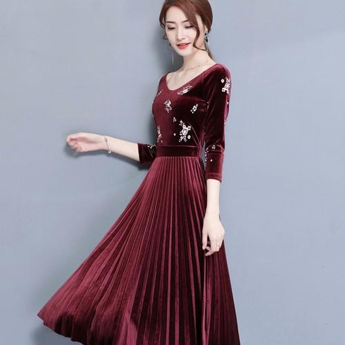 Đầm nhung thuê hoa Sang Trọng - Hàng nhập - DX093