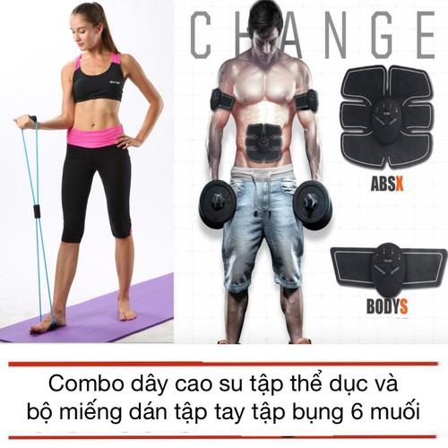 Worldmart combo dây cao su và bộ miếng dán tập bụng thể dục thể thao