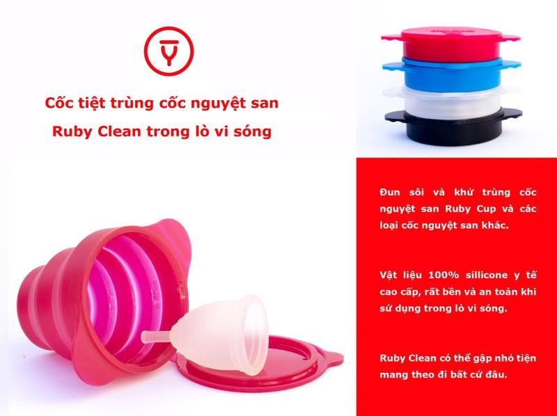 Cốc nguyệt san Ruby cup, Anh, màu Trong Size M, NK độc quyền 13