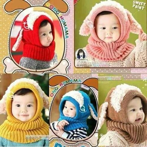 Mũ len lót lông tai cừu cho bé