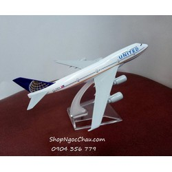 MÔ HÌNH MÁY BAY TĨNH B747 UNITED AIRLINES - NEW LOGO - 16CM