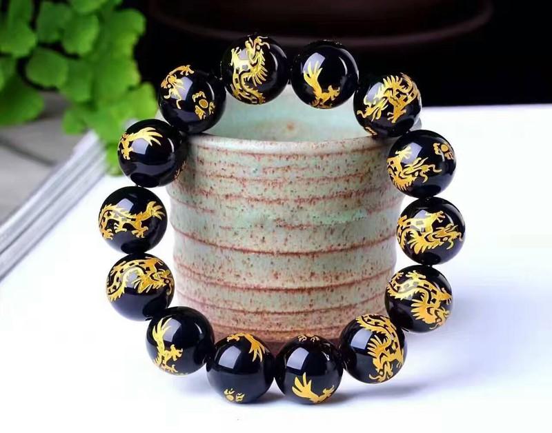 Vòng đeo tay nam nữ phong thủy đá khắc rồng 2
