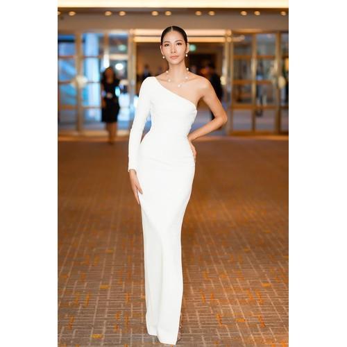 Đầm dạ hội kiểu lệch vai tay dài