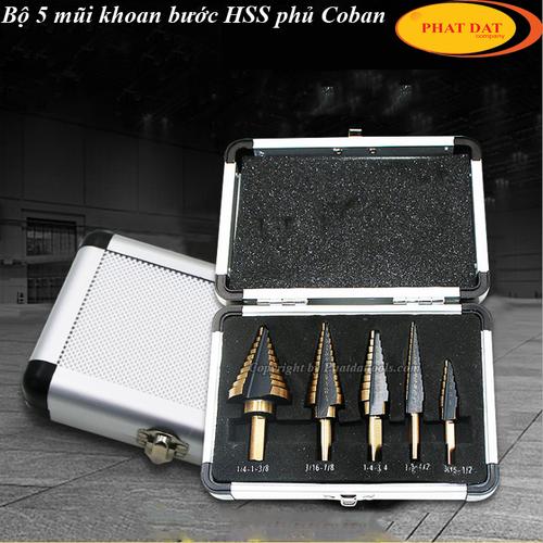 Bộ 5 mũi khoan tháp HSS phủ Coban-mũi khoan Inox phủ Coban