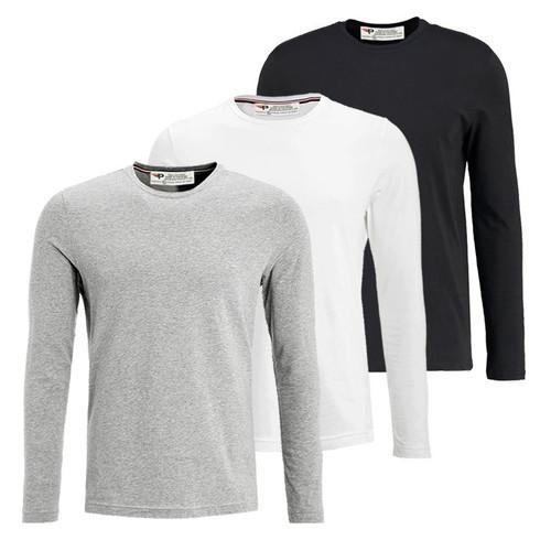 Bộ 3 áo thun nam cổ tròn dài tay PIGO ADT01 - 5 ,Trắng, Đen, xám