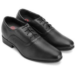 Giày tăng chiều cao Huy Hoàng da bò cột dây màu đen EH7723